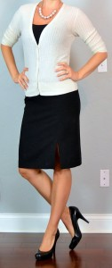 outfit post: cream cardigan, black camisole, black pencil skirt