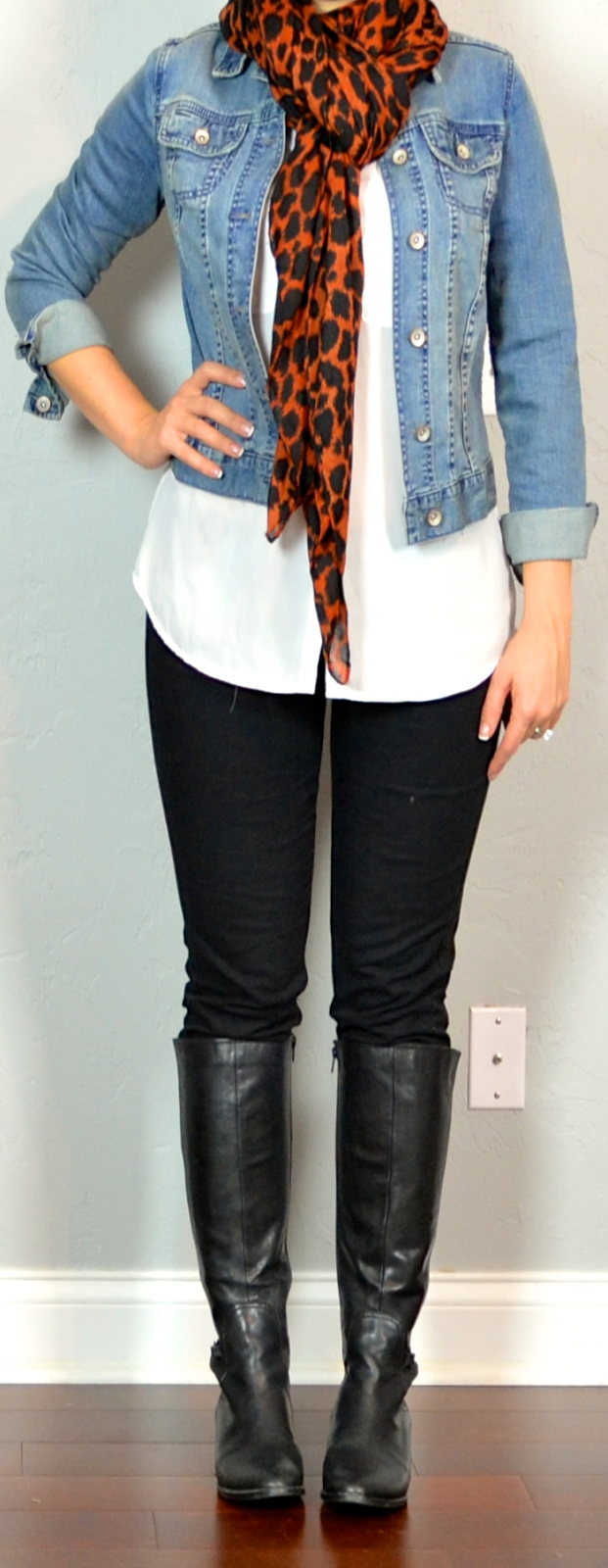 Outfit post white blouse black skinny jeans jean jacket leopard scarf