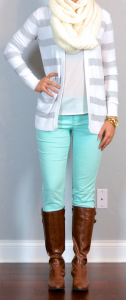 outfit post: mint jeans, white blouse, grey & white striped sweater, brown riding boots