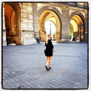 outfit post: black 3/4 sleeved dress, studded gladiator sandals