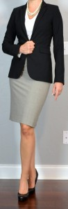 outfit post: grey pencil skirt, white cowl neck blouse, black suit jacket, black pumps
