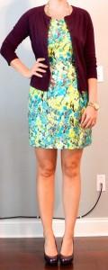 outfit post: bright floral dress, burgundy cardigan, purple pumps