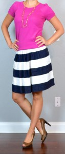 outfit post: pink shirt, navy & white striped skirt, brown peep toed pumps