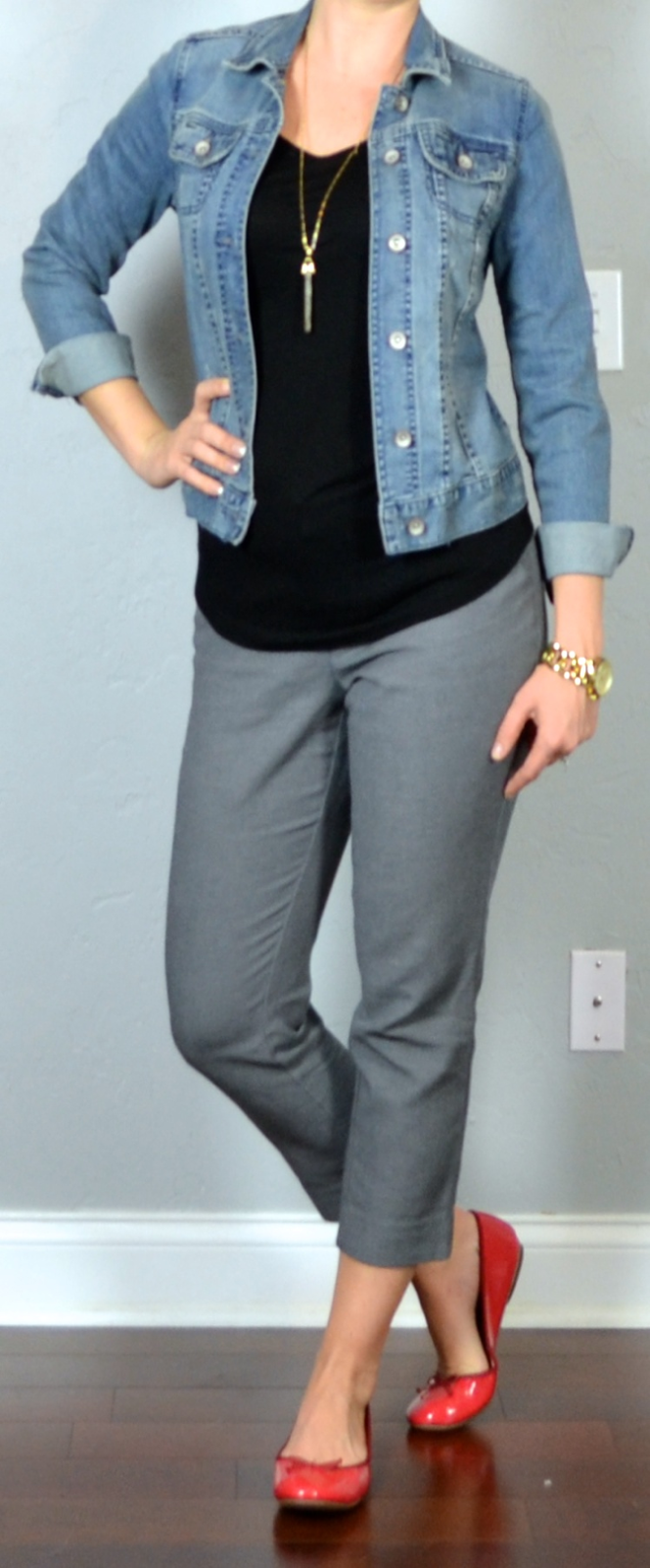 Outfit post jean jacket black shirt grey tailored ankle pants red ballet flats