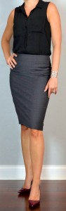 outfit post: black crepe button blouse, grey pencil skirt, burgundy heels