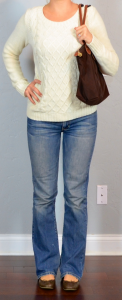 outfit post: cream cable knit sweater, bootcut jeans, brown flats