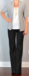 outfit post: grey boyfriend cardigan, white tank, black 'editor' pants