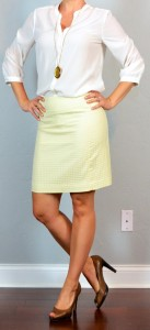 outfit post: yellow pencil skirt, white crepe blouse, brown peep toed pumps