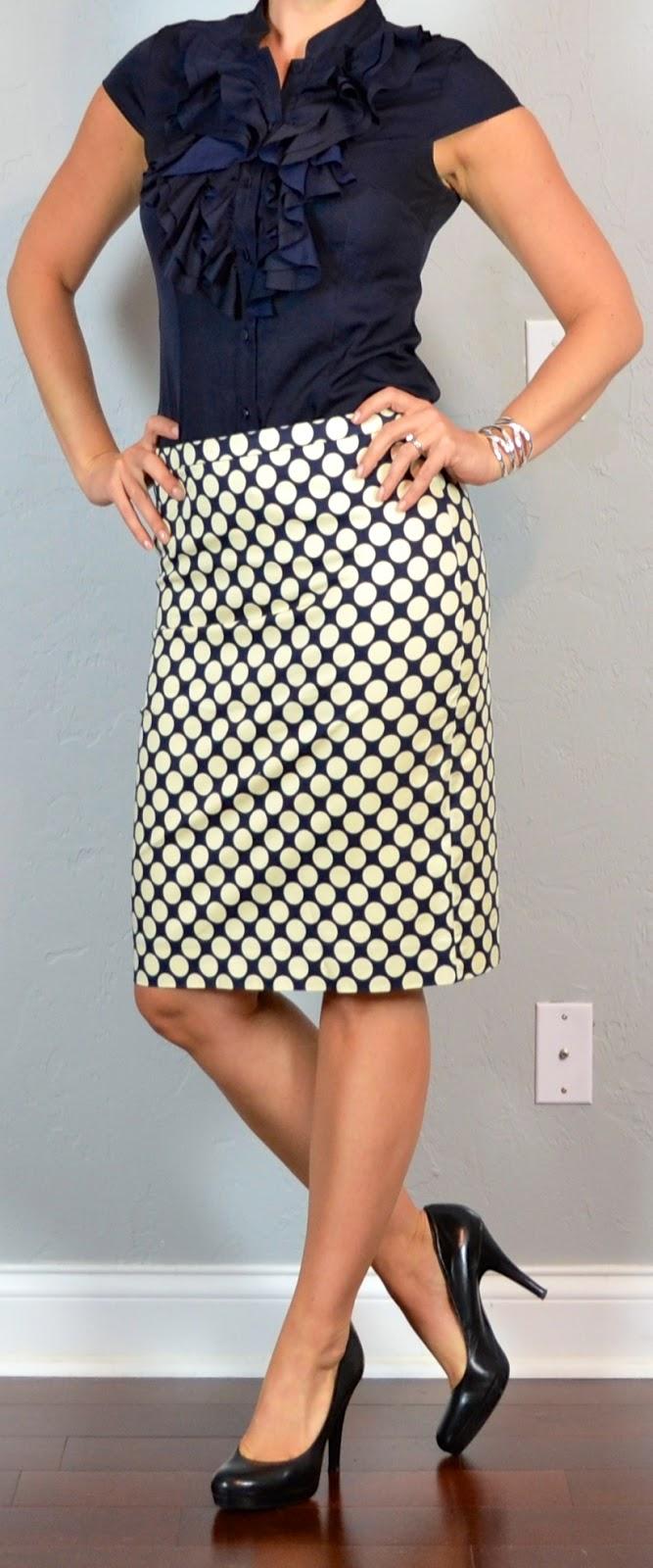 Outfit post navy ruffle blouse polka-dot pencil skirt black pumps