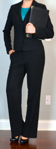 outfit post: black suit, teal blouse, black heels