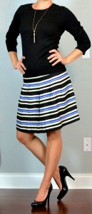 outfit post: black sweater, striped blue & yellow a-line skirt, black pumps