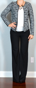 outfit post: boucle jacket, white tank, black 'editor' pants