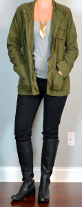 outfit post: army jacket, black skinny jeans, grey tank