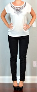 outfit post: embroidered flutter sleeved blouse, black skinny jean, black pumps