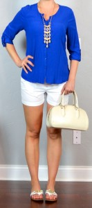 outfit post: blue button blouse, white shorts, white buckle sandals