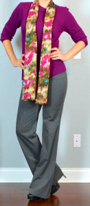 outfit post: purple sweater, grey editor pant, floral scarf