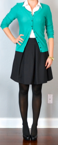 outfit post: black a-line skirt, white button down shirt, green cardigan