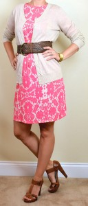 outfit post: peach/pink floral dress, beige cardigan, wide woven belt