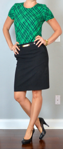outfit post: green pattern crepe blouse, black pencil skirt, black pumps