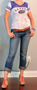 outfit post: vintage inspired gator shirt, boyfriend jeans, orange belt
