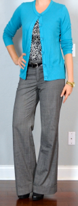 outfit post: teal cardigan, dot blouse, grey wide legged pants