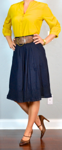 outfit post: mustard crepe blouse, navy midi skirt, brown mary janes