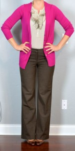 outfit post: bright pink cardigan, ruffle blouse, brown editor pants