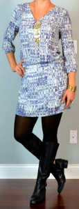 outfit post: patterned dress, black boots