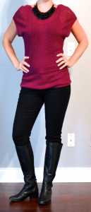 outfit post: maroon sweater, black skinny jeans, black riding boots