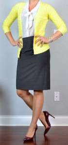 outfit post: yellow cardigan, tie-neck blouse, grey pencil skirt, burgundy pumps