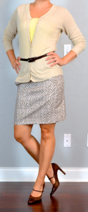 outfit post: beige cardigan, yellow tank, print pencil skirt