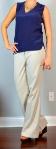 outfit post: navy silk blouse, cream 'editor' pants, brown wedges