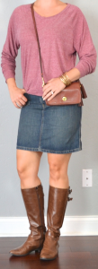 outfit post: pink slouchy sweater, jean skirt, brown riding boots
