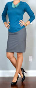 outfit post: blue sweater, teal necklace, grey pencil skirt