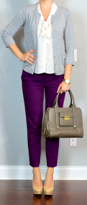 outfit post: purple cropped pants, white tie-neck blouse, grey cardigan