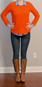 outfit post: orange sweater, blue plaid shirt, skinny jeans, riding boots