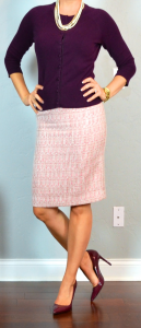 outfit post: burgundy cardigan, pink tweed skirt, burgundy pumps