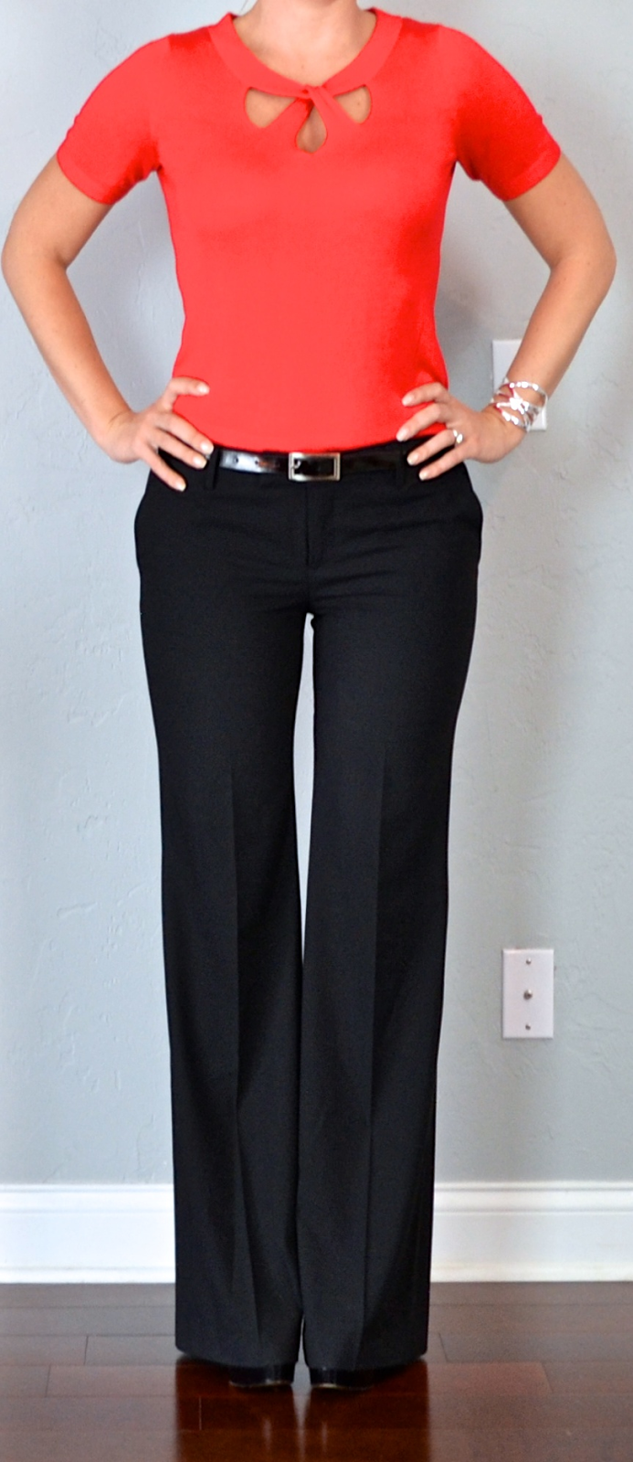 Outfit post red cutout sweater black dress pants black pumps