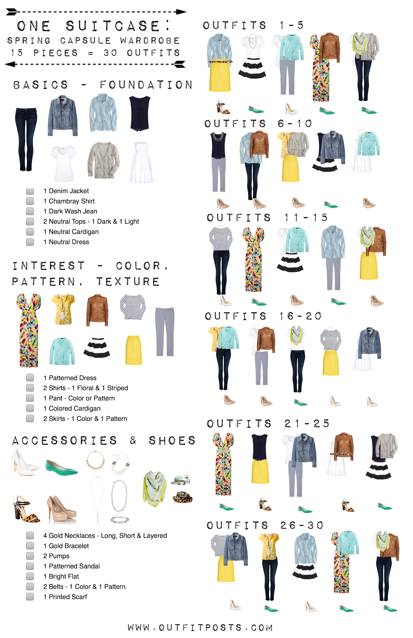 15 easy pieces for 30 summer outfits capsule wardrobe checklist. Black Bedroom Furniture Sets. Home Design Ideas