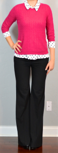 outfit post: pink sweater, polka-dot blouse, black pants
