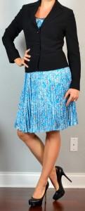 outfit post: blue print dress, black suit jacket