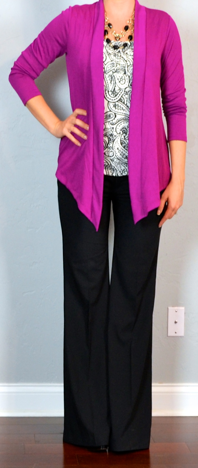 Outfit Post Pink Cardigan Print Blouse Black Pants