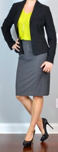 outfit post: citron green sweater, black suit jacket, grey pencil skirt, black pumps