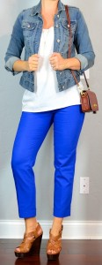 outfit post: blue cropped pants, white crepe tank, jean jacket