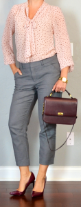 outfit post: pink tie-front blouse, grey tailored ankle pant, burgundy pumps
