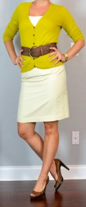outfit post: yellow dot skirt, mustard cardigan, wide woven belt, brown peep toed heels