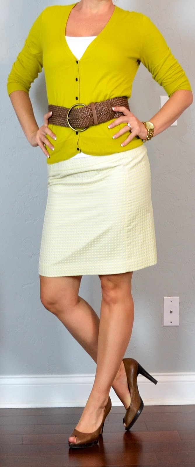 Outfit post yellow dot skirt mustard cardigan wide woven belt brown peep toed heels