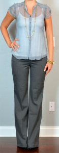 outfit post: sheer blue floral top, white tank, grey 'editor' bootcut pants, black pumps