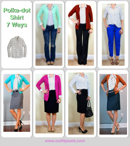 outfit posts: polka dot shirt 7 ways