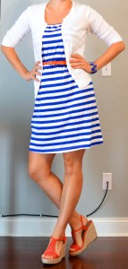 outfit post: blue & white striped dress, white cardigan, orange belt